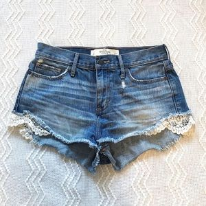 Abercrombie Lace Trim Denim Shorties